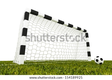 football goal and soccer ball on grass