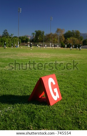 Football Goal Line Marker - stock photo