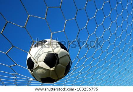 football goal net win winner champion soccer sport background for design - stock photo
