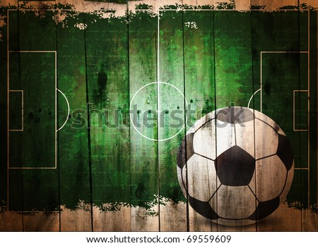 Football grunge background. Digital graffiti on a wooden fence - stock photo