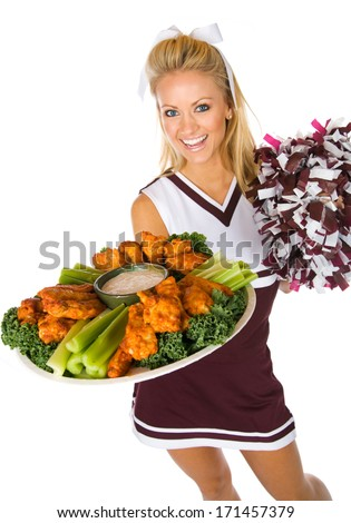 Football: Happy Cheerleader with Tray of Buffalo Wings - stock photo