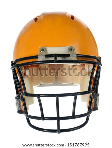 Football helmet in front view isolated over white background - With Clipping Path - stock photo