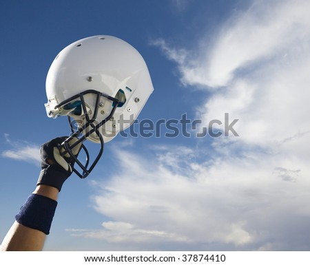 Football Helmet in the clouds (Extra Large) - stock photo