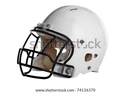 Football helmet isolated over white background - With Clipping Path - stock photo