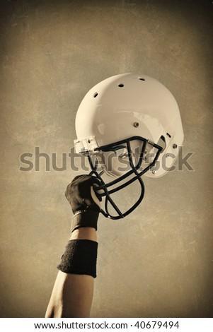 Football Helmet Sepia toned - stock photo