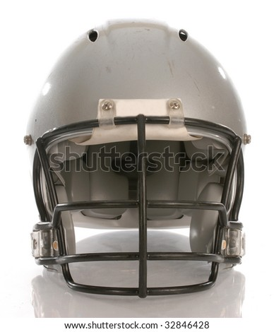football helmet with reflection on white background - stock photo