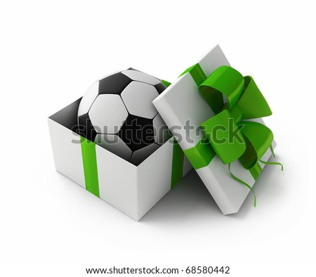 Football in a gift box 3d rendering - stock photo