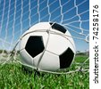 Football in the goal net - stock photo
