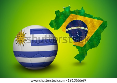 Football in uruguay colours against green brazil outline with flag - stock photo