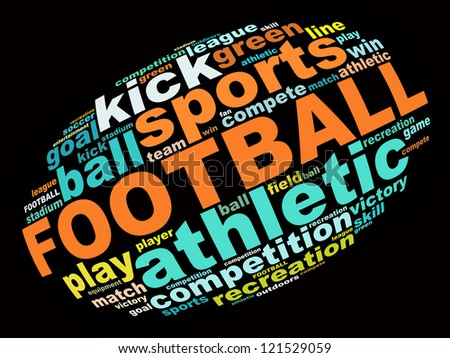 Football info text graphics and arrangement concept (word clouds) on black background - stock photo