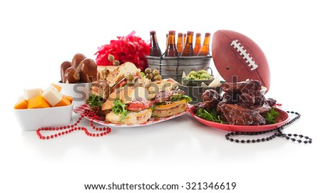 Football: Low View Of Tailgate Party Food And Items - stock photo