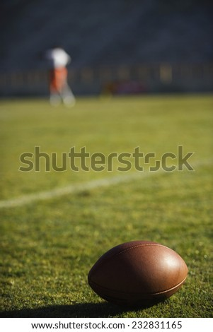 Football Lying on Turf