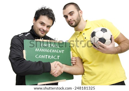 Football manager and player shaking hands, contract signing, manager holding blackboard, isolated on white - stock photo
