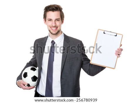 Football manager hold with soccer and clipboard - stock photo