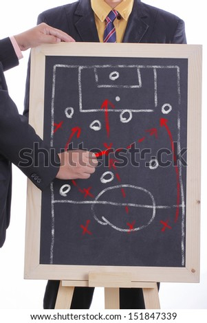 Football manager plan attack game  for match tournament - stock photo