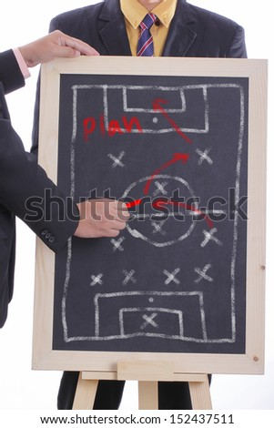 Football manager select formular 4-3-3 for match tournament - stock photo