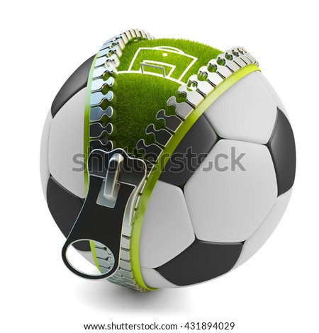 Football match game and sport concept, soccer ball with zipper and stadium field with green grass inside it, isolated on white, 3d illustration