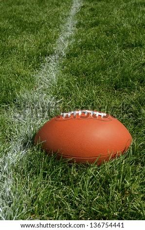 Football Near Yardline American Football on Natural Grass Turf - stock photo