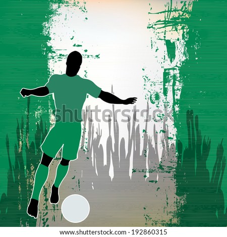 Football Nigeria, Soccer player over a grunged Nigerian Flag and cheering crowd - stock photo