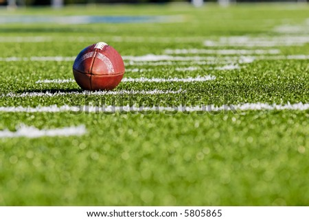 Football on Field Horizontal View - stock photo