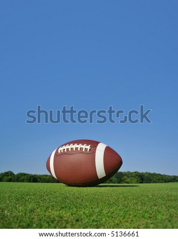 Football on field portrait. Designed for use as cover.