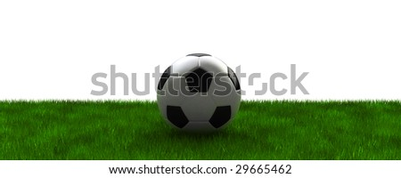 football on grass with clipping path