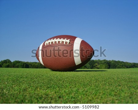 Football on grassy field. - stock photo
