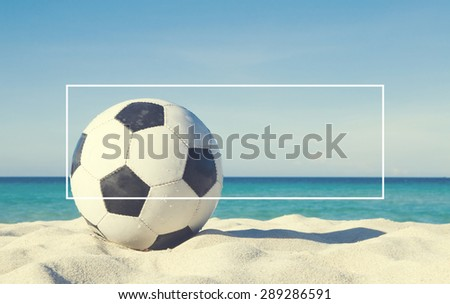 Football on the beach Activity Sport Concept - stock photo