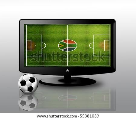 football on tv - stock photo