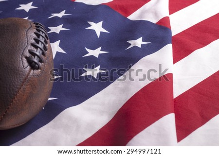 Football on USA flag, freedom country symbol of liberty