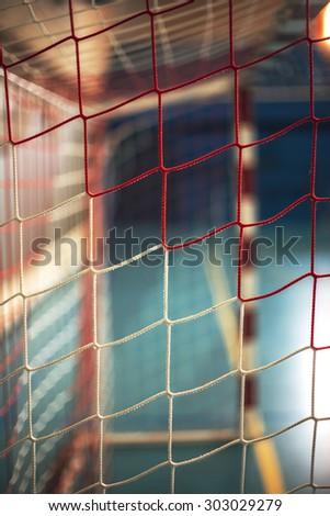 football or handball playground. Gate net - stock photo