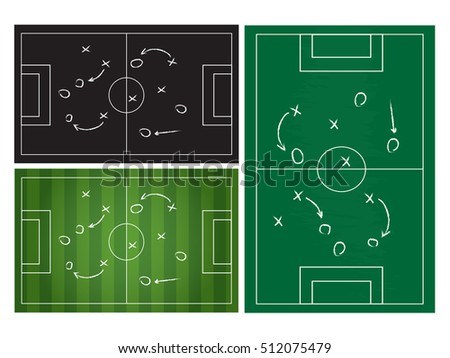 Football or soccer game strategy plan isolated on blackboard texture set