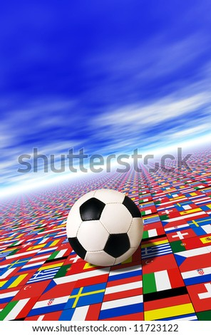 football over a floor with flags of participants to Euro 2008 championship in Austria and Switzerland - stock photo