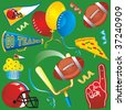 Football Party Clip Art Icons - stock vector