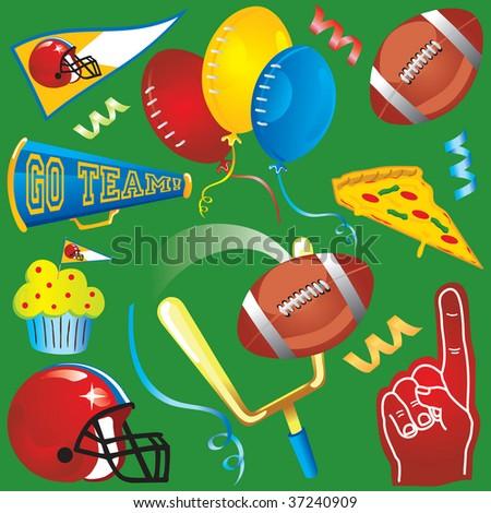 Football Party Clip Art Icons - stock photo