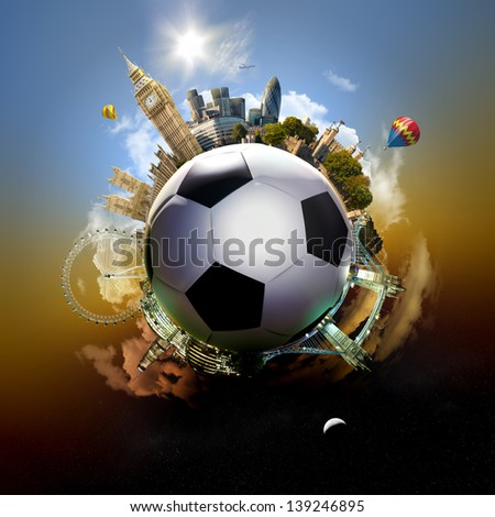 Football planet of London - symbolic illustration of London, UK, built on a soccer football, with all important buildings and attractions of the city - stock photo