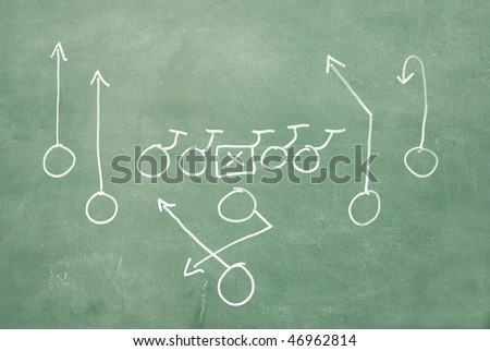 Football play drawn on old chalkboard - stock photo