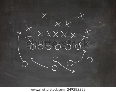 Football play strategy drawn out on a chalk board - stock photo