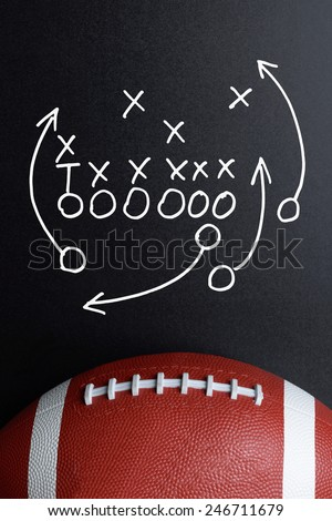 Football Play Strategy Drawn Out On A Chalk Board With Rugby Ball - stock photo