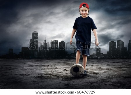 Football player and Grunge ball on the retro grunge background - stock photo
