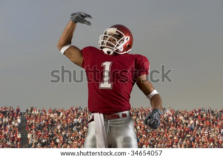 Football player celebrates victory