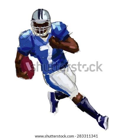 football player digital painting / football player - stock photo