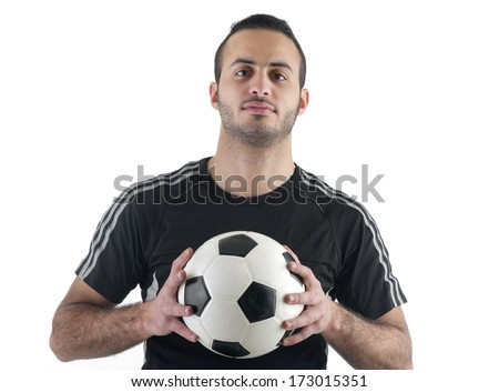 Football player holding the ball with his hands, isolated on white - stock photo