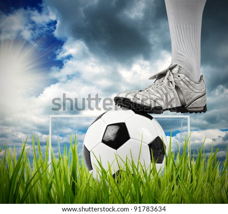 Football player in a field - stock photo