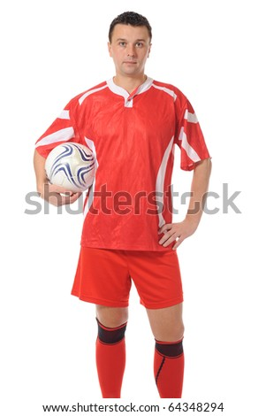 Football player in a red sports uniform. Isolated on white background - stock photo