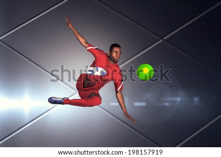 Football player in red kicking against futuristic screen with lines