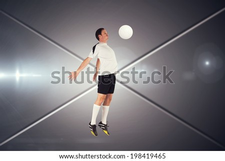 Football player in white jumping against futuristic screen with lines