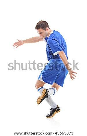 Football player isolated against white background - stock photo