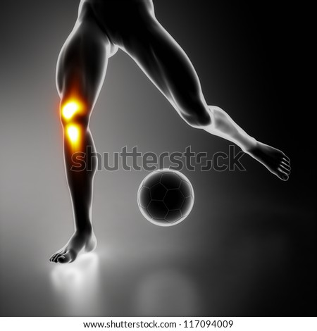 Football player knee joint problem - stock photo