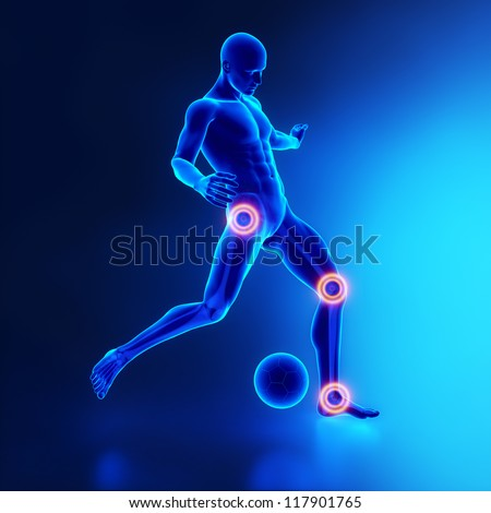 Football player - most used joints - stock photo